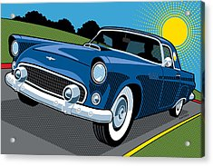 Acrylic Print featuring the digital art 1956 Ford Thunderbird Sunday Cruise by Ron Magnes
