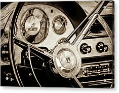 Acrylic Print featuring the photograph 1956 Ford Victoria Steering Wheel -0461s by Jill Reger