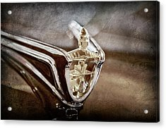 Acrylic Print featuring the photograph 1956 Lincoln Premiere Convertible Hood Ornament -2797ac by Jill Reger