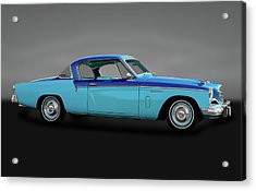 Acrylic Print featuring the photograph 1956 Studebaker Sky Hawk Coupe  -  1956studebakerskyhawkgry170517 by Frank J Benz