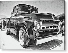 1957 Ford F100 In Black And White Acrylic Print