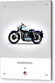 1957 Harley Sportster Xl Acrylic Print by Mark Rogan