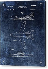 1958 Airplane Patent Blue Acrylic Print by Dan Sproul
