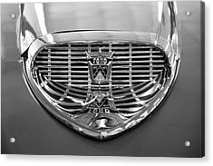 Acrylic Print featuring the digital art 1958 Ford Fairlane Sunliner Intake Bw by Chris Flees