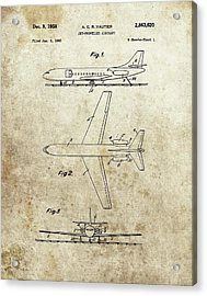 1958 Jet Airplane Patent Acrylic Print by Dan Sproul