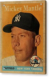 1958 Topps Baseball Mickey Mantle Card Vintage Poster Acrylic Print by Design Turnpike