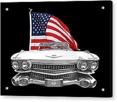 1959 Cadillac With Us Flag Acrylic Print by Gill Billington