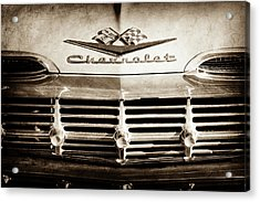 Acrylic Print featuring the photograph 1959 Chevrolet Impala Grille Emblem -1014s by Jill Reger
