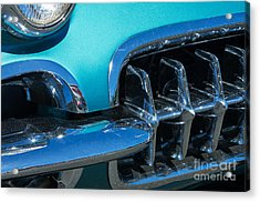 1960 Chevy Corvette Headlight And Grill Abstract Acrylic Print