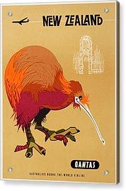 1960 Qantas New Zealand Kiwi Travel Poster Acrylic Print