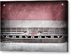 Acrylic Print featuring the photograph 1961 Chevrolet Corvair Pickup Truck Grille Emblem -0130ac by Jill Reger