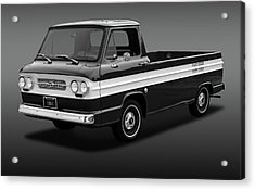 Acrylic Print featuring the photograph 1961 Chevrolet Corvair Rampside  -  61corvairrampsidebw172180 by Frank J Benz