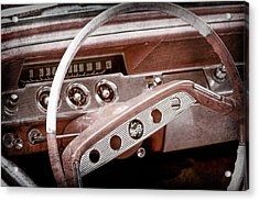 Acrylic Print featuring the photograph 1961 Chevrolet Impala Ss Steering Wheel Emblem -1156ac by Jill Reger