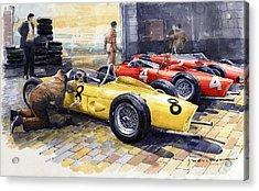 1961 Spa-francorchamps Ferrari Garage Ferrari 156 Sharknose  Acrylic Print
