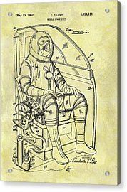 1962 Space Suit Patent Acrylic Print by Dan Sproul