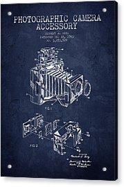 1963 Camera Patent - Navy Blue - Nb Acrylic Print