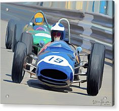 1963 Cooper T66 Coming Out Of Monaco's Mirabeau Acrylic Print by Wally Hampton
