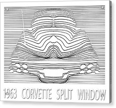 Wavy Line 63 Corvette Split Window Abstract Acrylic Print by Jack Pumphrey