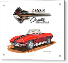 1963 Corvette Stingraw Roadster Acrylic Print by Jack Pumphrey
