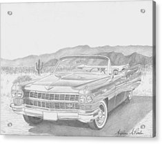 1964 Cadillac Series 62 Convertible Classic Car Art Print Acrylic Print by Stephen Rooks