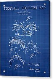 1964 Football Shoulder Pad Patent - Blueprint Acrylic Print