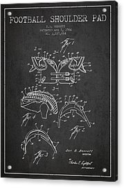 1964 Football Shoulder Pad Patent - Charcoal Acrylic Print