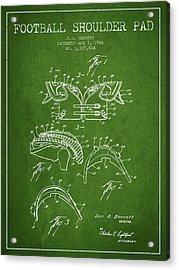 1964 Football Shoulder Pad Patent - Green Acrylic Print
