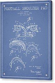 1964 Football Shoulder Pad Patent - Light Blue Acrylic Print