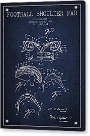 1964 Football Shoulder Pad Patent - Navy Blue Acrylic Print