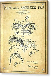 1964 Football Shoulder Pad Patent - Vintage Acrylic Print