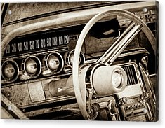 Acrylic Print featuring the photograph 1964 Ford Thunderbird Steering Wheel -0280s by Jill Reger