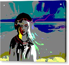 Acrylic Print featuring the digital art 1964 - Walk On The Seaside by Irmgard Schoendorf Welch