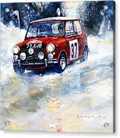 1964 Rallye Monte Carlo Mini Cooper S Hopkirk Liddon Winner Acrylic Print by Yuriy Shevchuk