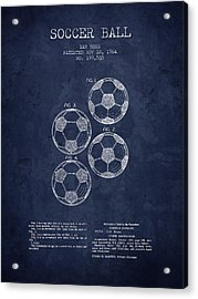 1964 Soccer Ball Patent - Navy Blue - Nb Acrylic Print by Aged Pixel