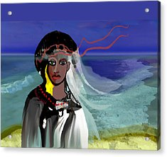 Acrylic Print featuring the digital art 1965 - Walk On The Oceanside by Irmgard Schoendorf Welch