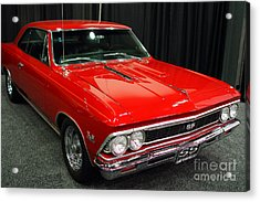 1966 Chevy Chevelle Ss 396 . Red . 7d9278 Acrylic Print by Wingsdomain Art and Photography