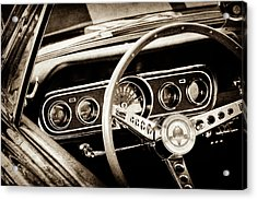 1966 Ford Mustang Cobra Steering Wheel -0338s Acrylic Print by Jill Reger
