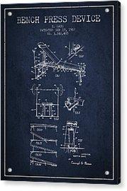 1967 Bench Press Device Patent Spbb06_nb Acrylic Print