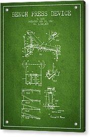 1967 Bench Press Device Patent Spbb06_pg Acrylic Print
