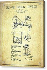 1967 Bench Press Device Patent Spbb06_vn Acrylic Print