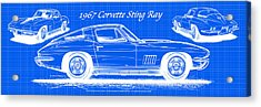1967 Corvette Sting Ray Coupe Reversed Blueprint Acrylic Print