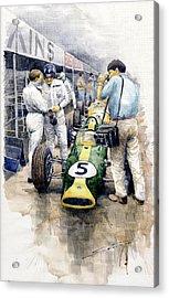 1967 Lotus 49t Ford Coswoorth Jim Clark Graham Hill Acrylic Print by Yuriy Shevchuk