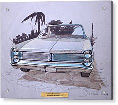 1967 Plymouth Fury  Vintage Styling Design Concept Rendering Sketch Acrylic Print by John Samsen