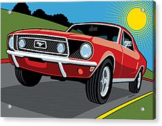 Acrylic Print featuring the digital art 1968 Ford Mustang Sunday Cruise by Ron Magnes