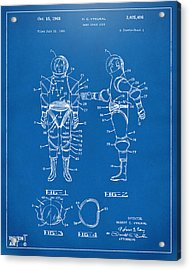 1968 Hard Space Suit Patent Artwork - Blueprint Acrylic Print by Nikki Marie Smith