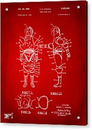 1968 Hard Space Suit Patent Artwork - Red Acrylic Print by Nikki Marie Smith