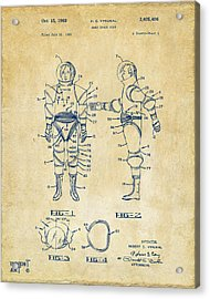 1968 Hard Space Suit Patent Artwork - Vintage Acrylic Print by Nikki Marie Smith