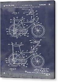 1968 Schwinn Stingray Patent In Blueprint Acrylic Print