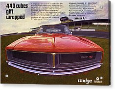 1969 Dodge Charger R/t - 440 Cubes Gift Wrapped Acrylic Print