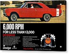 1969 Dodge Dart Swinger 340 Acrylic Print